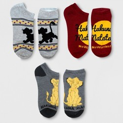 Disney The Lion King Women's No Show 3-Pack Socks Charcoal Heather 9-11