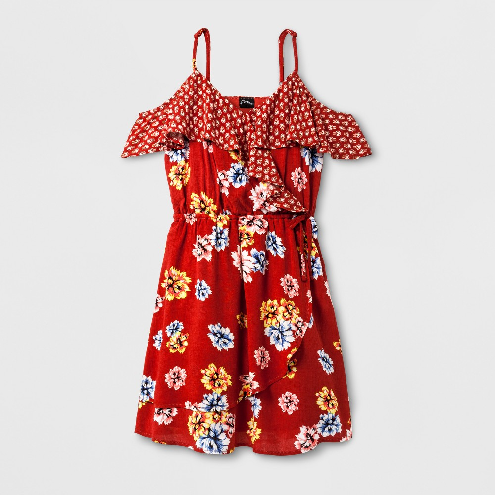Girls Surplice Dress - Art Class Burnt Terra XL, Red