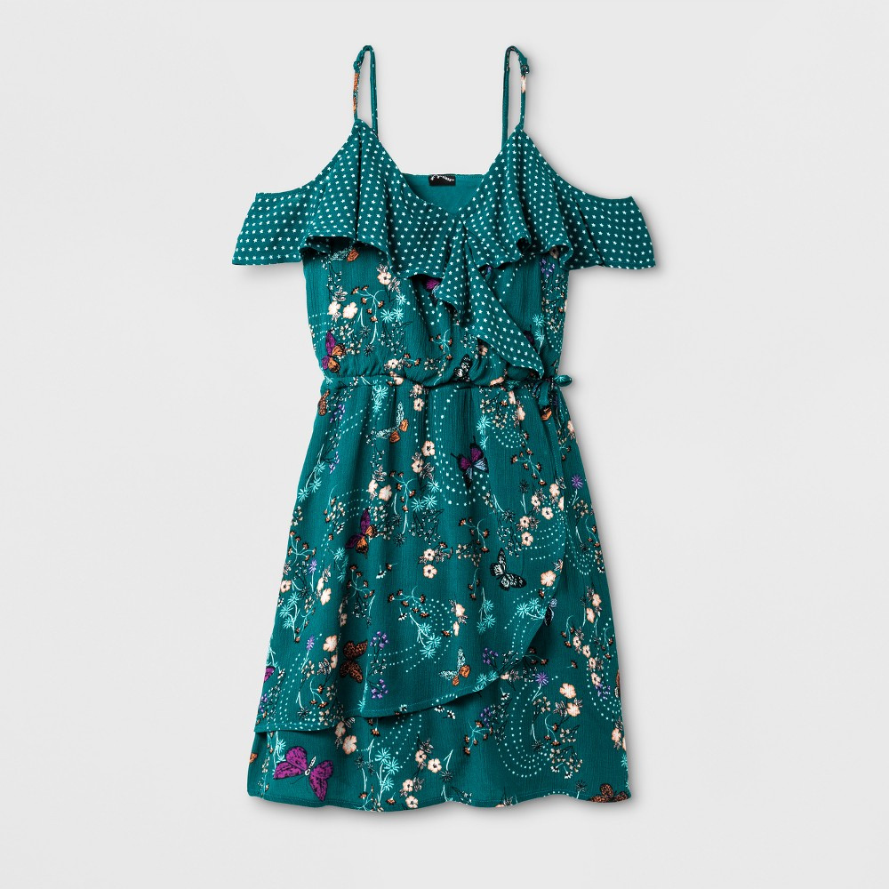 Girls Surplice Dress - Art Class Teal S, Blue