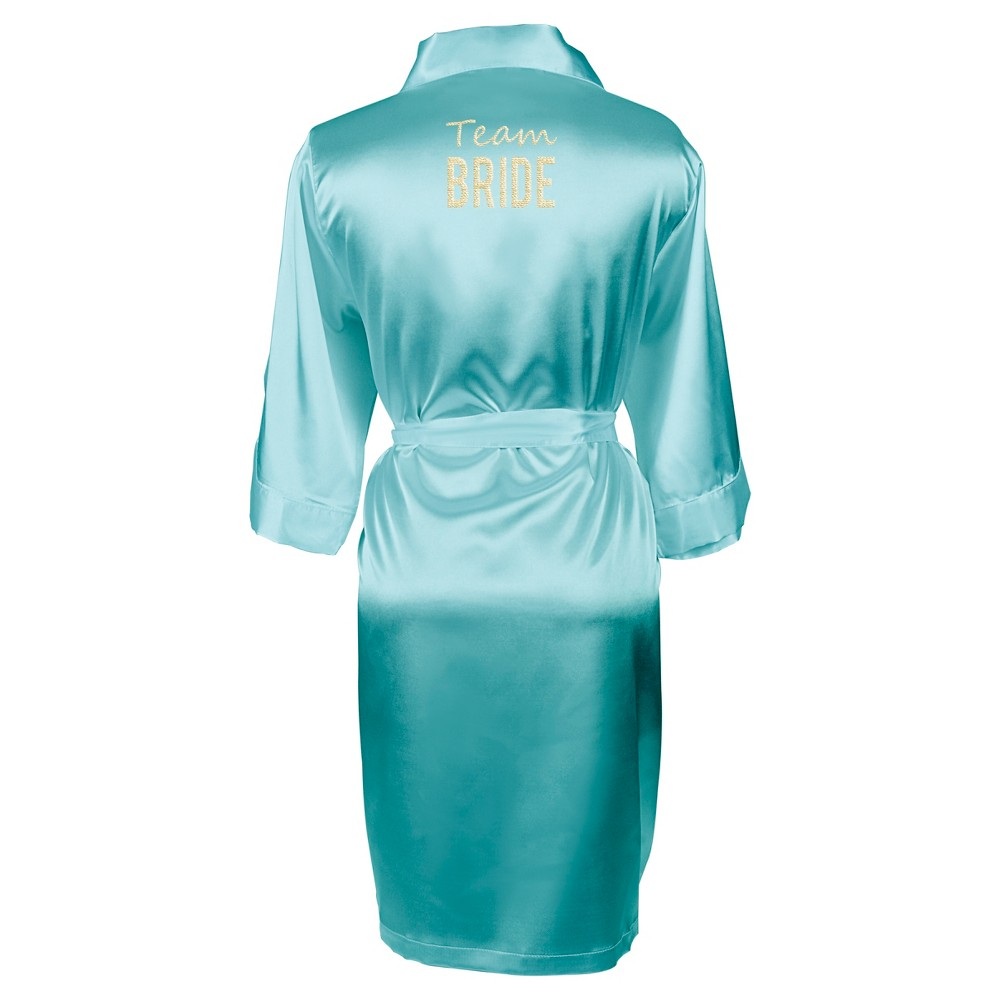 Solid Aqua Satin Robe (Large/X-Large), Womens, Blue