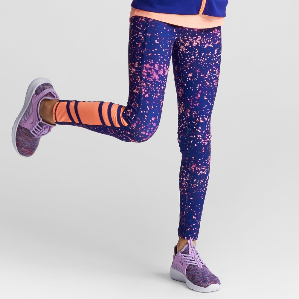 Girls Novelty Performance Leggings Starry Dot - C9 Champion Purple Print S, Blue