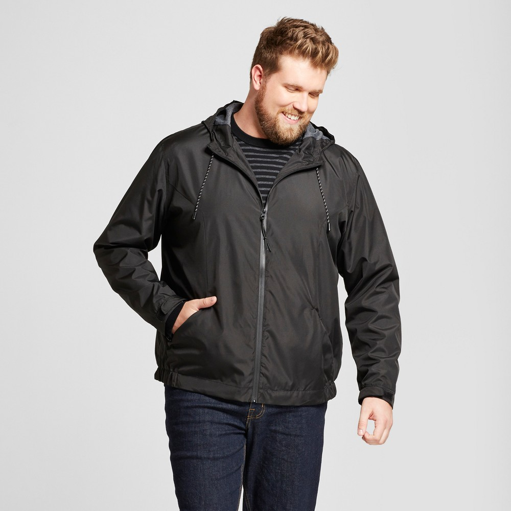 Mens Big & Tall Standard Fit Windbreaker Jacket - Goodfellow & Co Black 4XBT