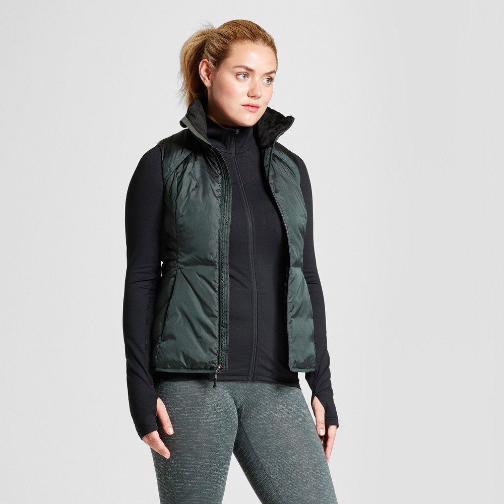 Womens Puffer Vest - C9 By Champion Green XL