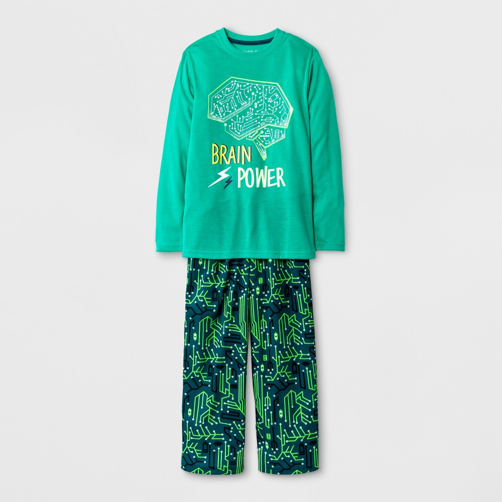 Boys Long Sleeve and Pants Brain Power Pajama Set - Cat & Jack Green XL