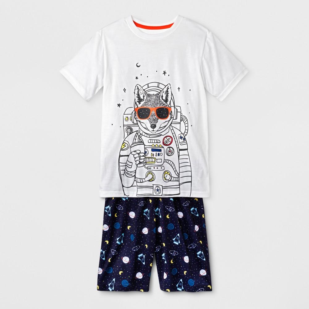 Boys Short Sleeve and Short Wolf Astronaut Pajama Set - Cat & Jack White S