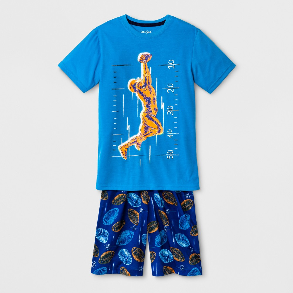 Boys Short Sleeve and Short Football Pajama Set - Cat & Jack Blue S