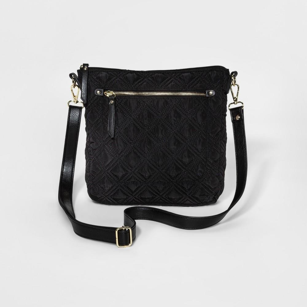 Womens Crossbody handbag With removable Strap - Merona Black Plaid