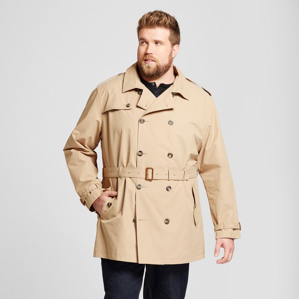 Mens Big & Tall Standard Fit Trench Coat - Goodfellow & Co Khaki 4XBT, Brown