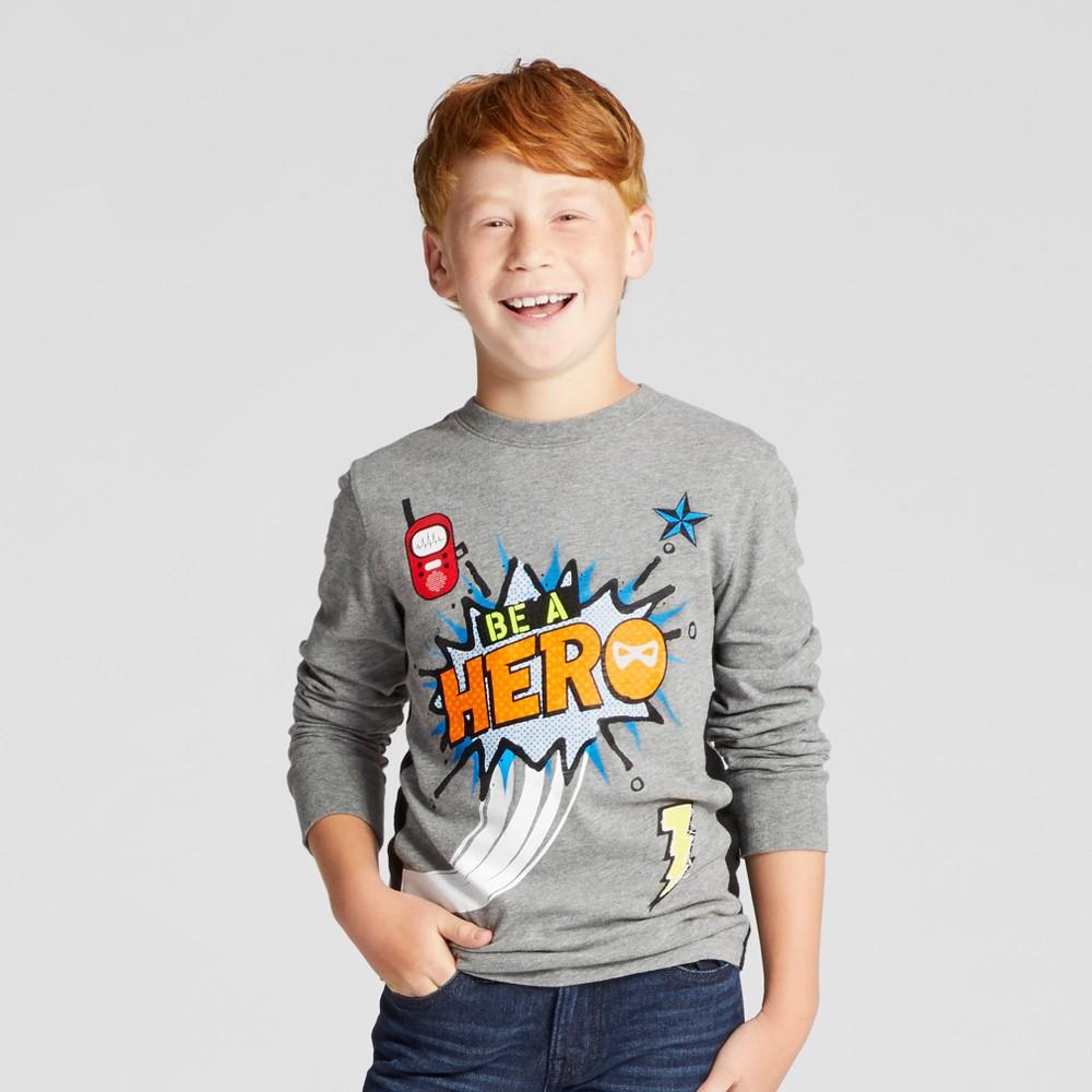 Boys Be A Hero Graphic Long Sleeve T-Shirt - Cat & Jack Heather Gray Xxl