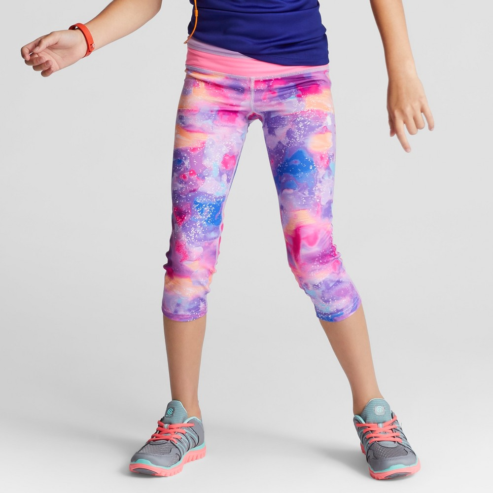 Girls Printed Performance Capri Leggings - C9 Champion Pink M