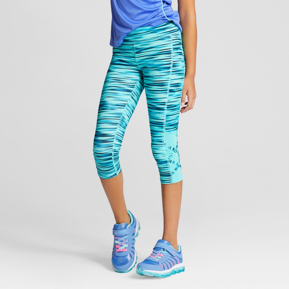 Girls Lattice Capri Leggings - C9 Champion Blurred Green Spacedye S