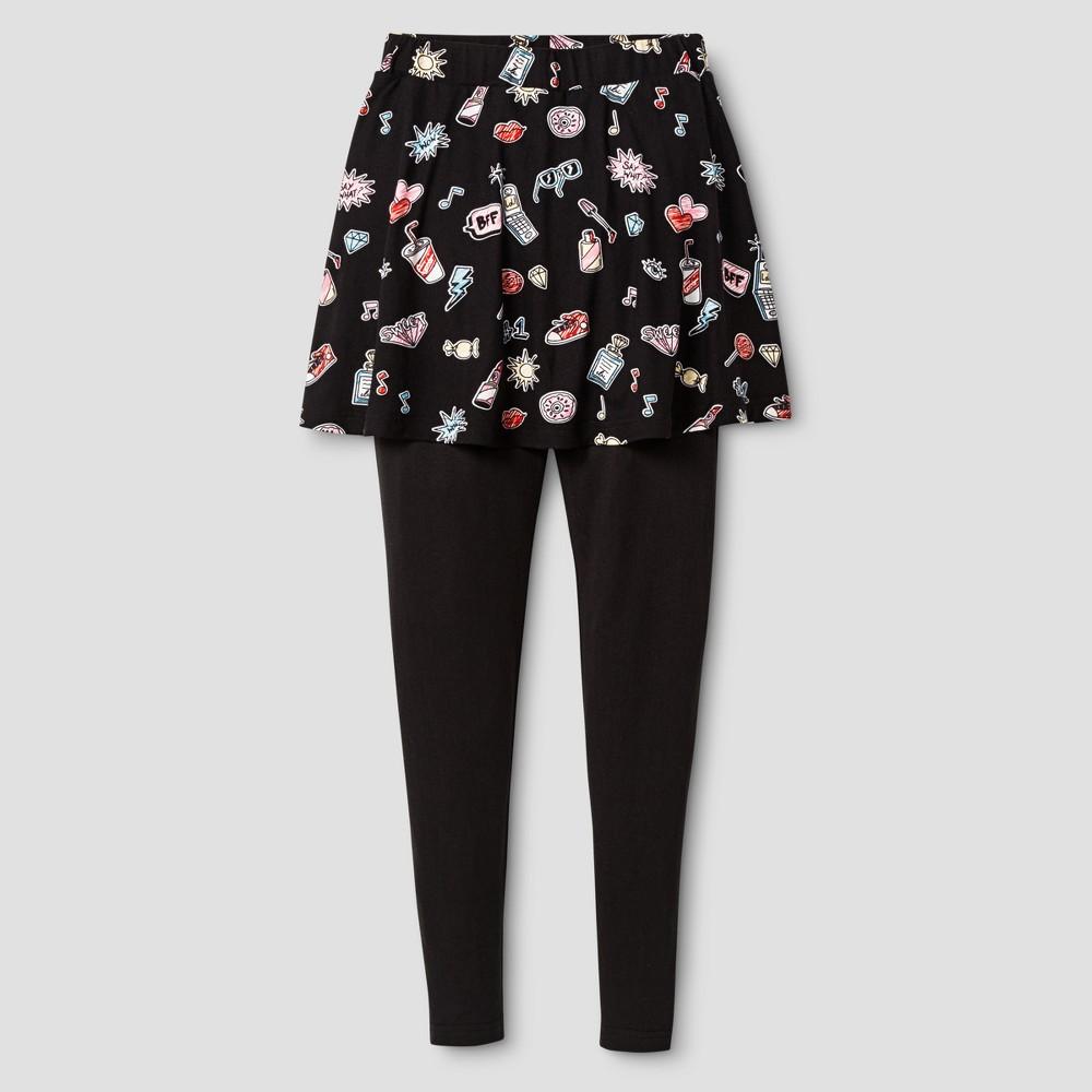 Girls Say What? Brushed Poly Leggings - Black Multi XL(14-16)