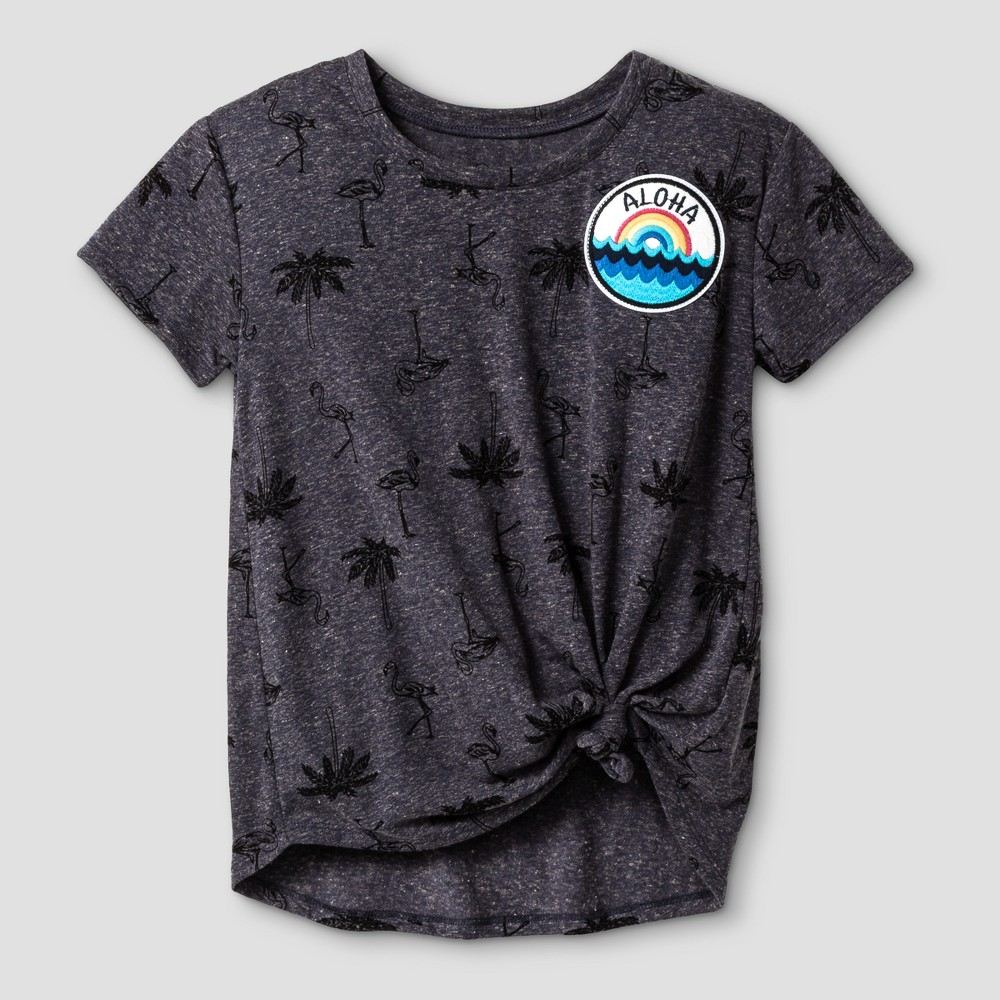 Girls Tie Front T-Shirt - Art Class Anchor Blue/Black L