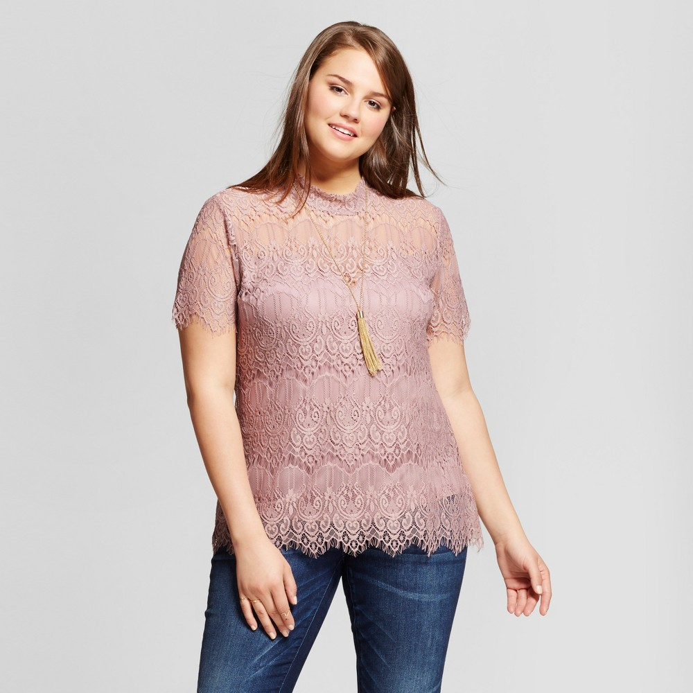 Womens Plus Size Mock Neck Lace Keyhole Top Purple 1X - Almost Famous (Juniors), Pink