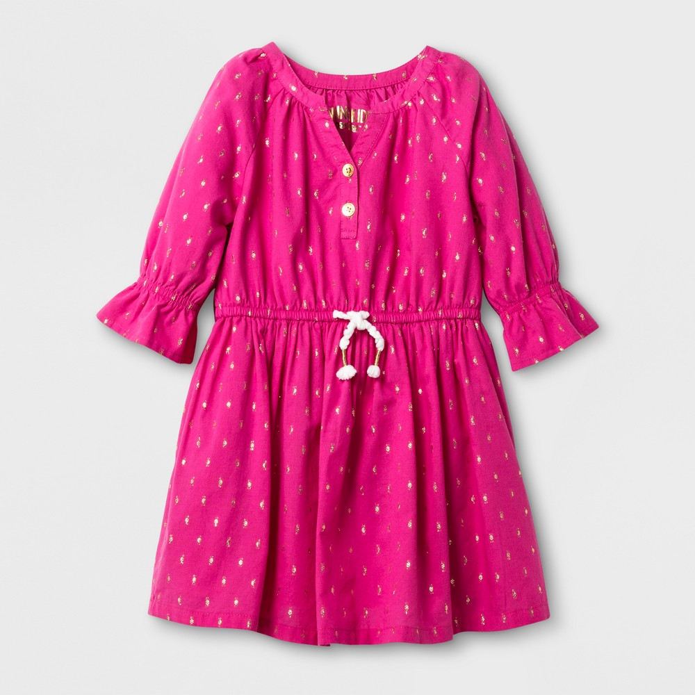Toddler Girls A Line Dress - Genuine Kids from OshKosh Pizzazz Pink Opaque 3T