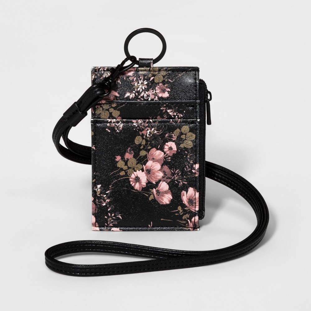 Floral Lanyard with Credit Card ID Wallet and Key-ring - Mossimo Supply Co. Pink, Womens, Size: Small, Pink Floral