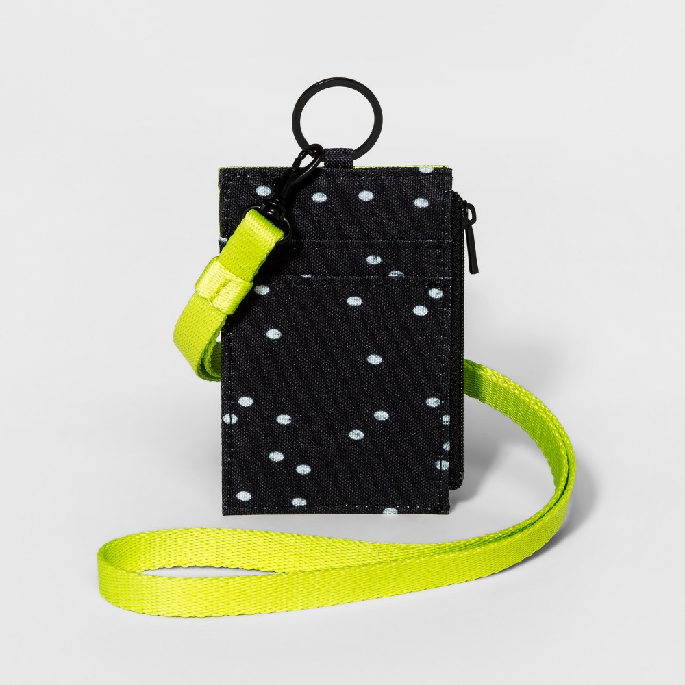 Dot Print Lanyard with Credit Card ID Wallet and Key-ring - Mossimo Supply Co. Black/White, Womens, Size: Small