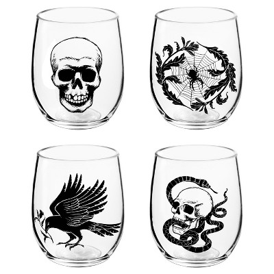 Halloween 4ct Nocturne Stemless Wine Glass Set (Skull, Spider, Snake, Raven)- Hyde and Eek! Boutique™