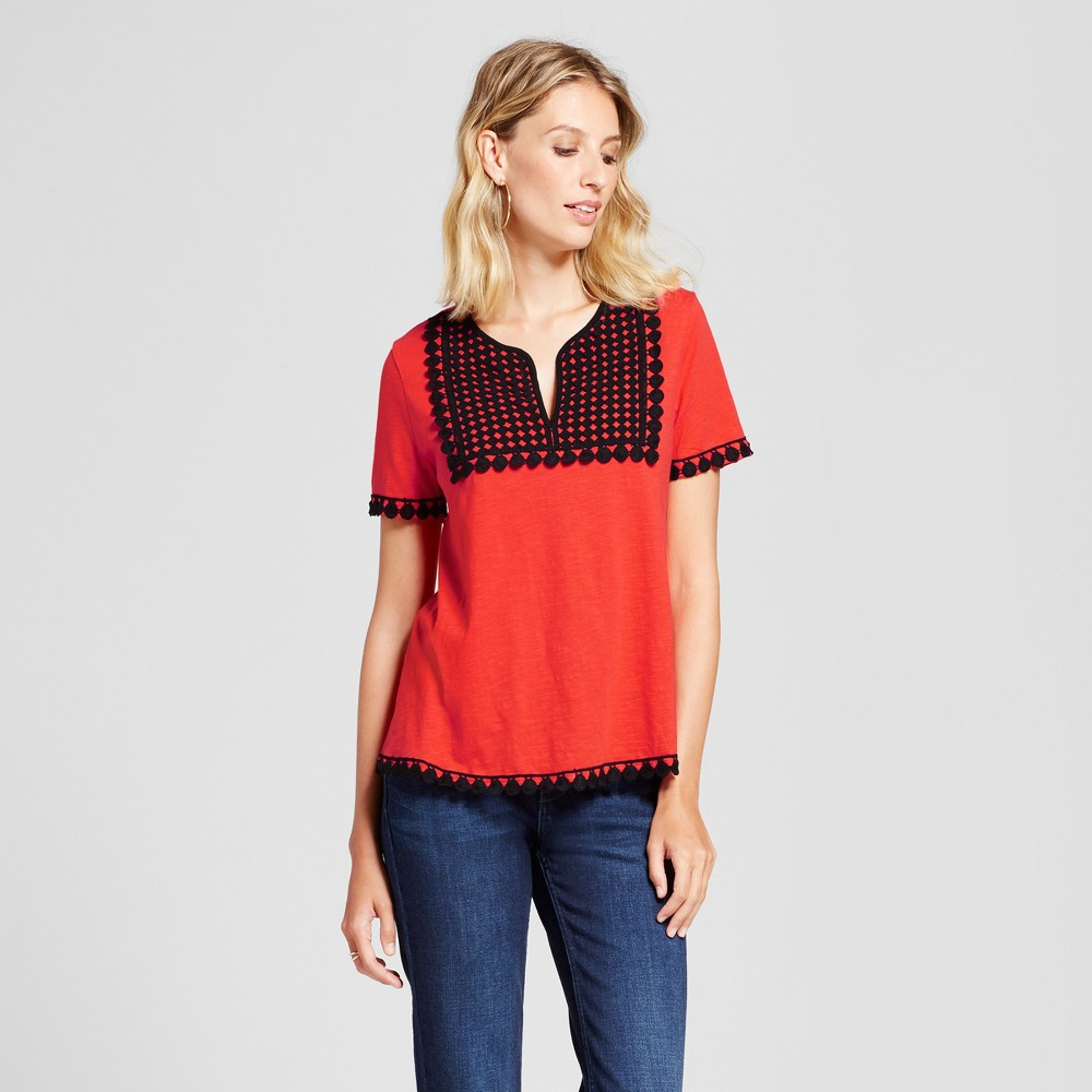 Womens Contrast Crochet Swing Top - Isani for Target Poppy L, Red
