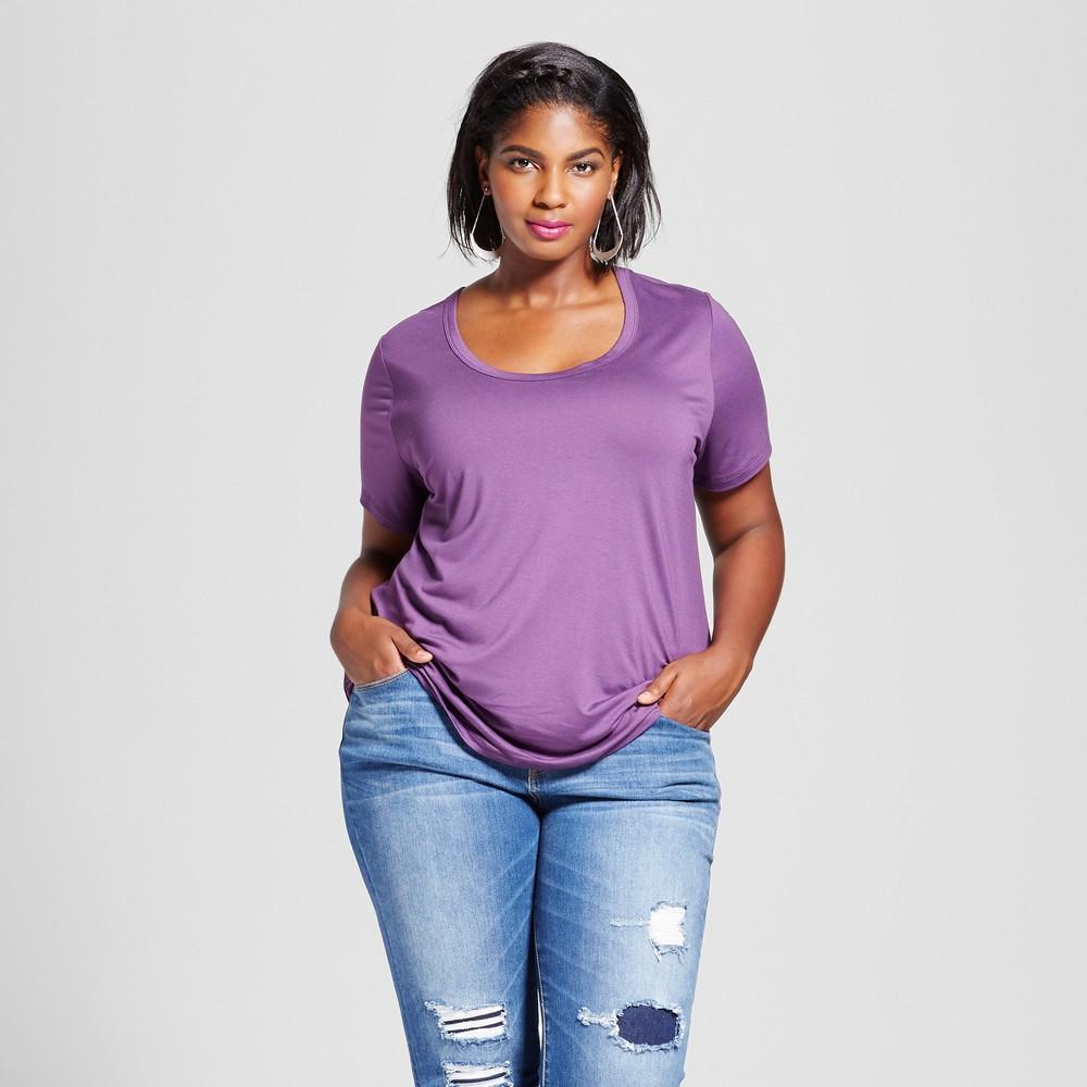 Womens Plus Size Perfect T-Shirt - Ava & Viv Plum 3X, Aubergine