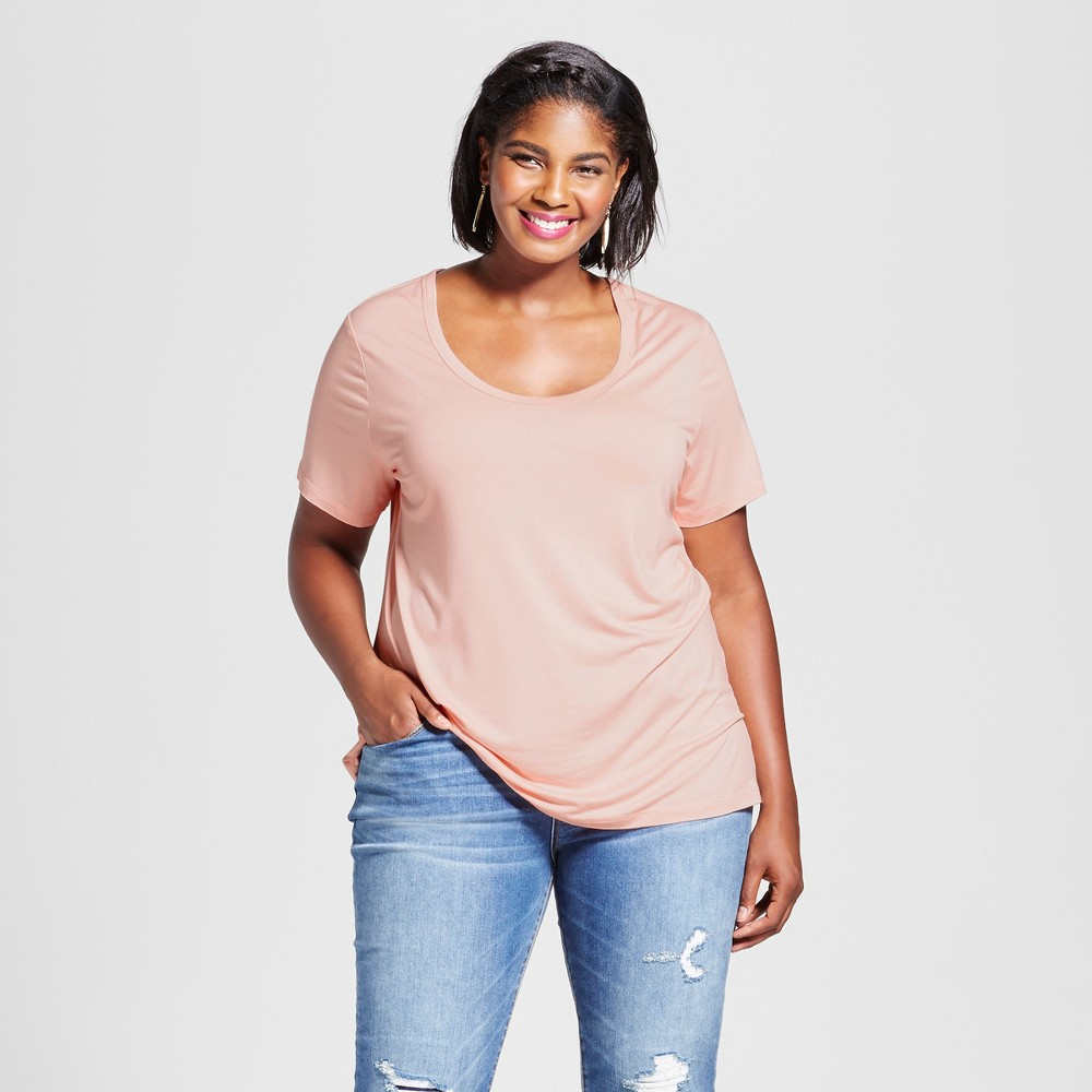 Womens Plus Size Perfect T-Shirt - Ava & Viv Just Peachy 1X