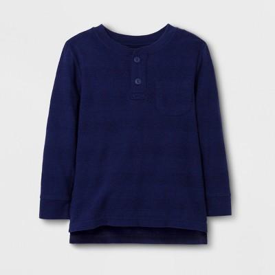 Toddler Boys' Long Sleeve Henley T-Shirt - Cat & Jack™ Navy 12M