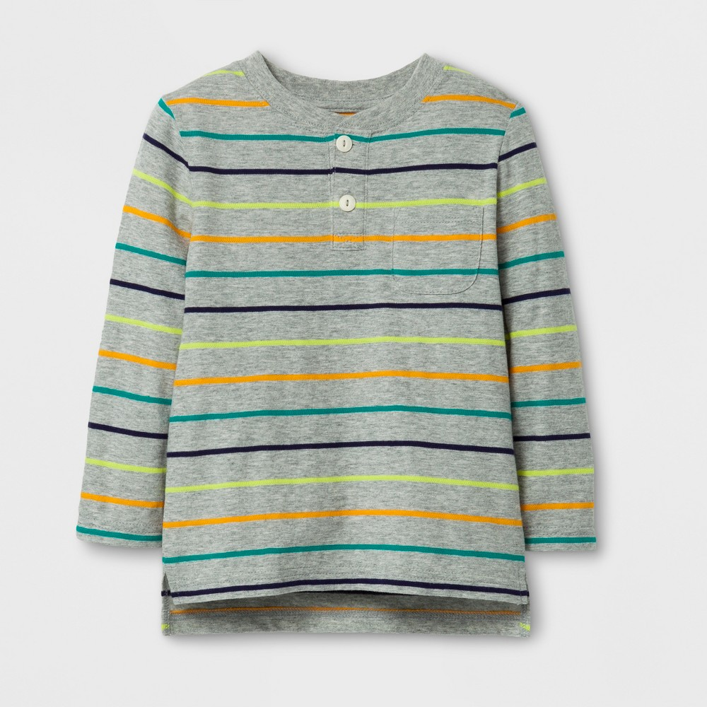 Toddler Boys Long Sleeve Henley T-Shirt - Cat & Jack Gray 3T, Multicolored