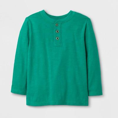 Toddler Boys' Long Sleeve Henley T-Shirt - Cat & Jack™ Green 12M