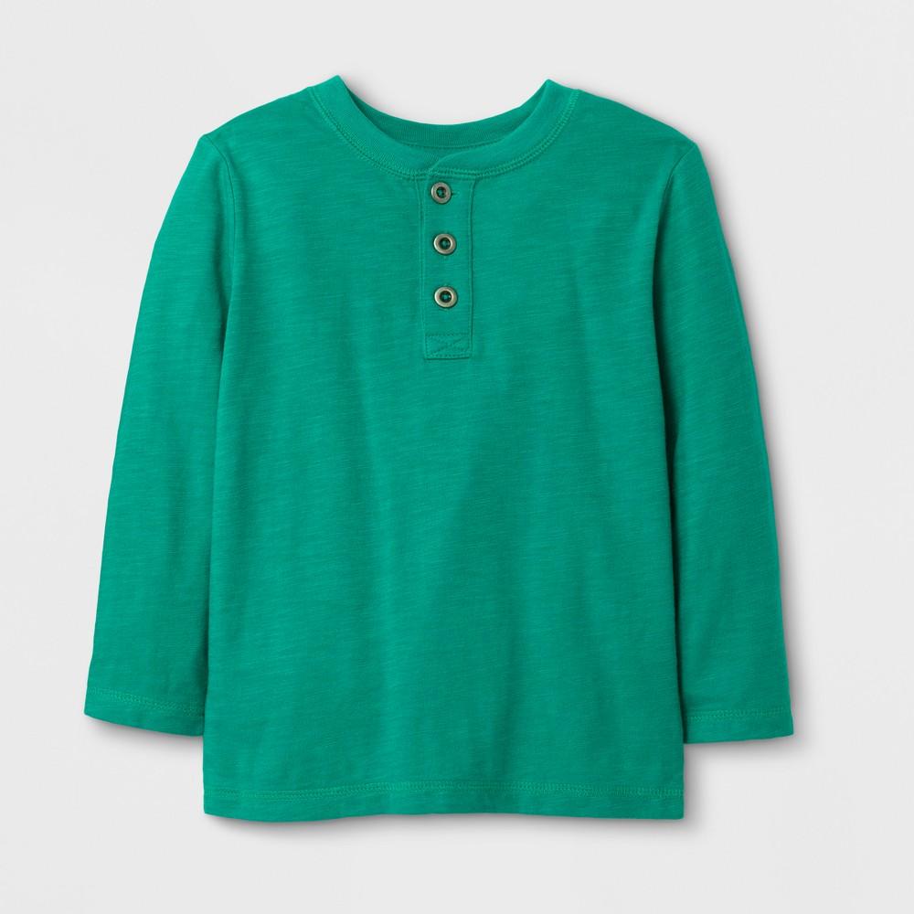 Toddler Boys Long Sleeve Henley T-Shirt - Cat & Jack Green 12M, Size: 12 M