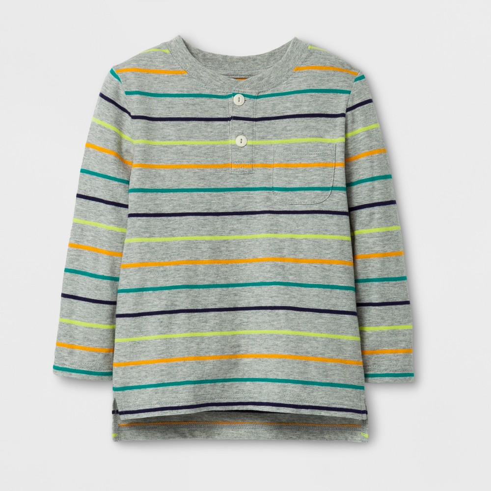 Toddler Boys Long Sleeve Henley T-Shirt - Cat & Jack Gray 12M, Size: 12 M, Multicolored
