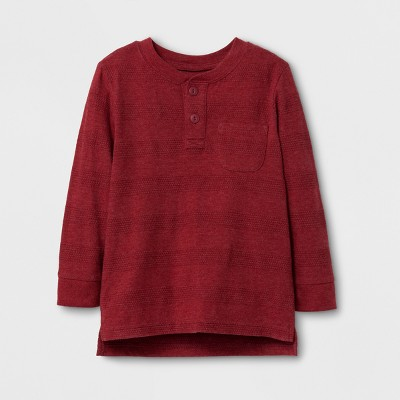 Toddler Boys' Long Sleeve Henley T-Shirt - Cat & Jack™ Maroon 12M
