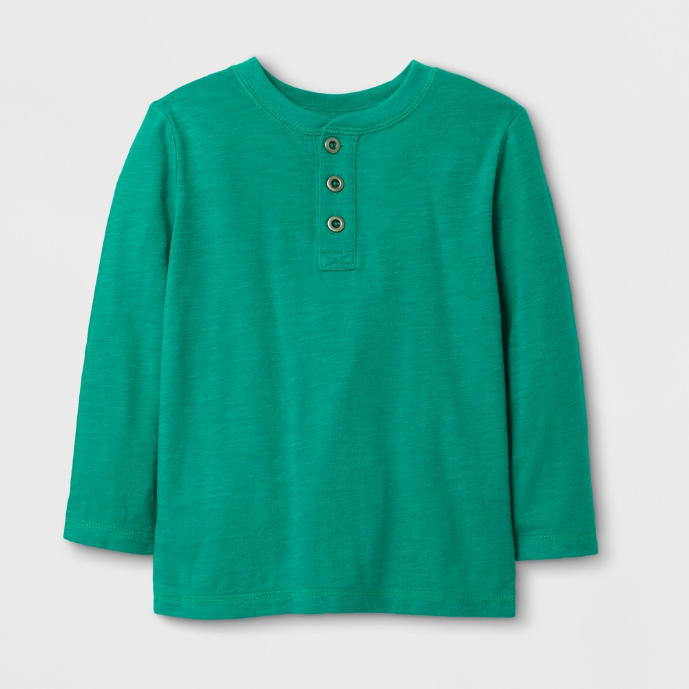 Toddler Boys Long Sleeve Henley T-Shirt - Cat & Jack Green 5T