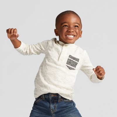 Toddler Boys' Long Sleeve Henley T-Shirt - Cat & Jack™ Cream 12M
