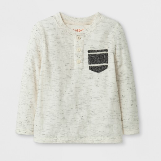 Toddler Boys' Long Sleeve Henley T-Shirt - Cat & Jack™ Cream : Target