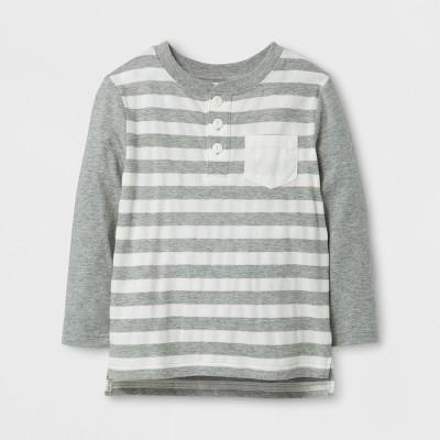 Toddler Boys' Long Sleeve Henley T-Shirt - Cat & Jack™ Gray/Cream 12M