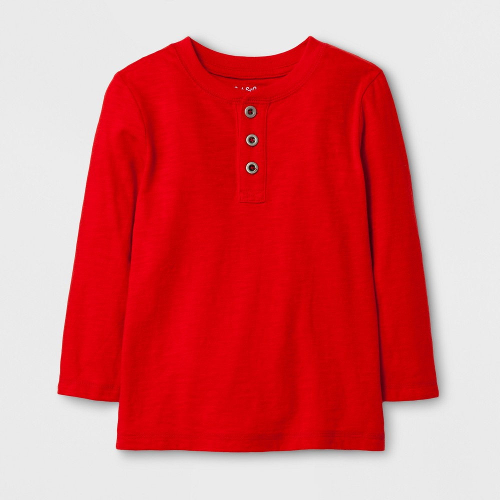 Toddler Boys Long Sleeve Henley T-Shirt - Cat & Jack Red 4T
