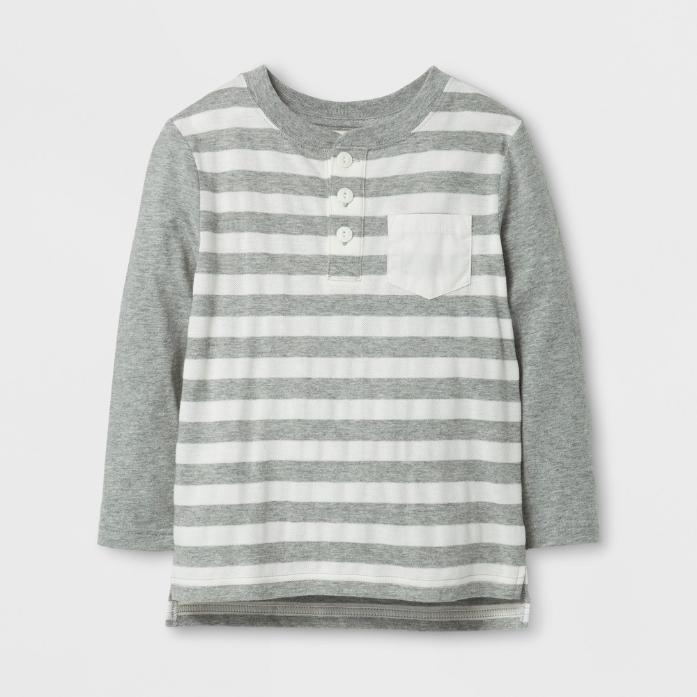 Toddler Boys Long Sleeve Henley T-Shirt - Cat & Jack Gray/Cream 5T