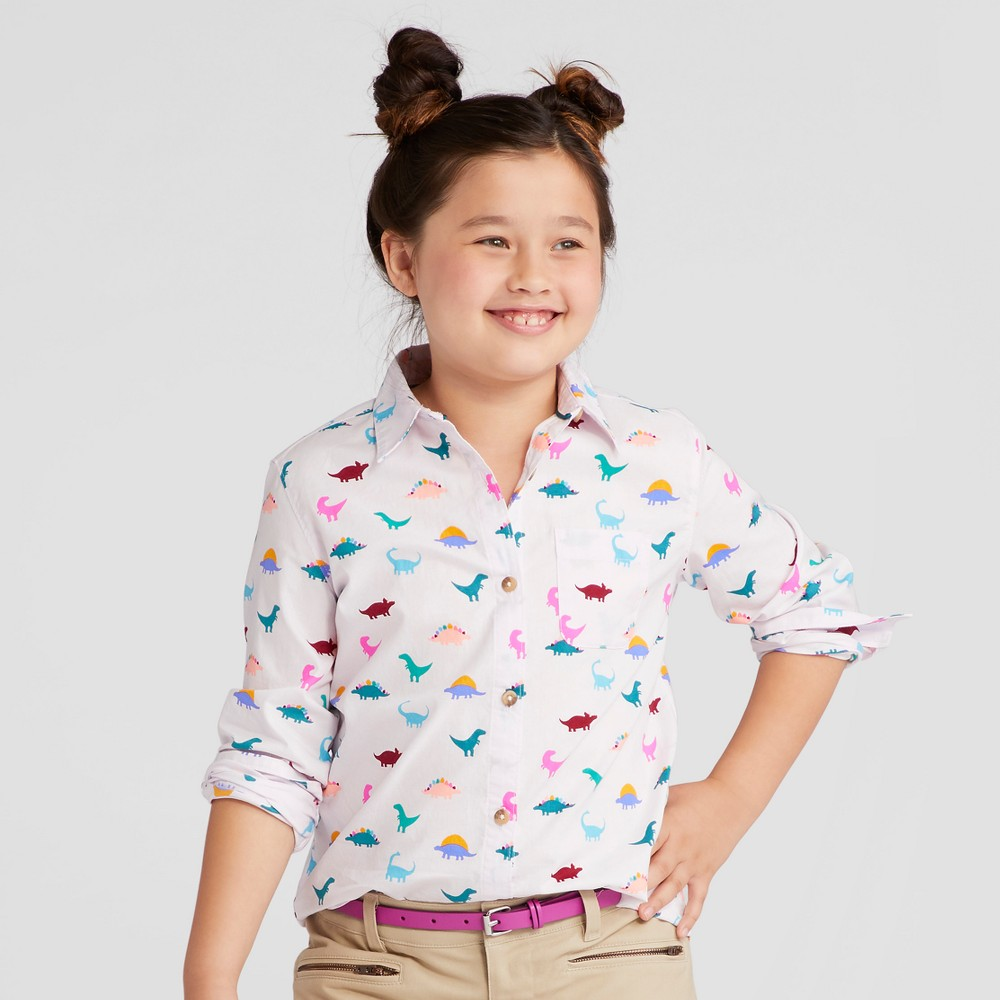 Girls Long Sleeve Button Down Shirt - Cat & Jack Cherry Cream S