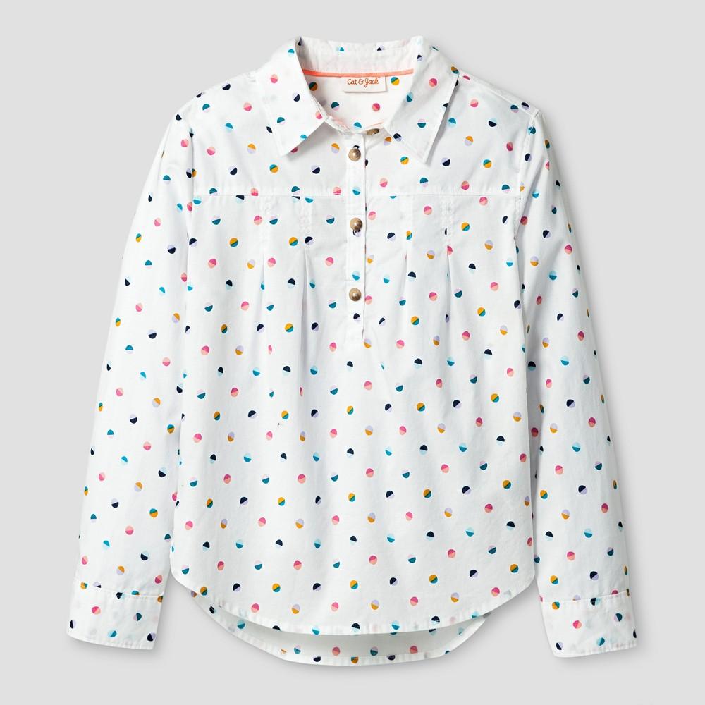 Girls Long Sleeve Button Down Shirt - Cat & Jack Almond Cream (Ivory) S