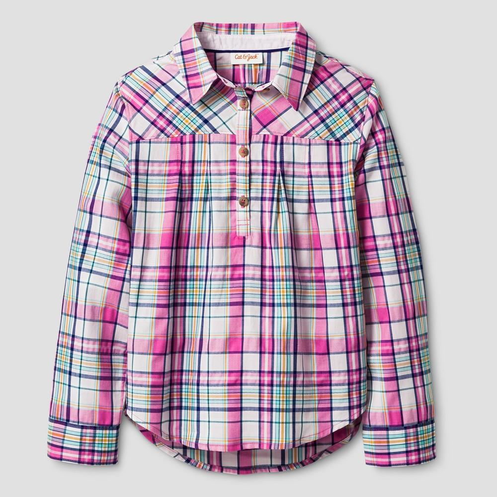 Girls Long Sleeve Woven Poplin Shirt - Cat & Jack Pink S