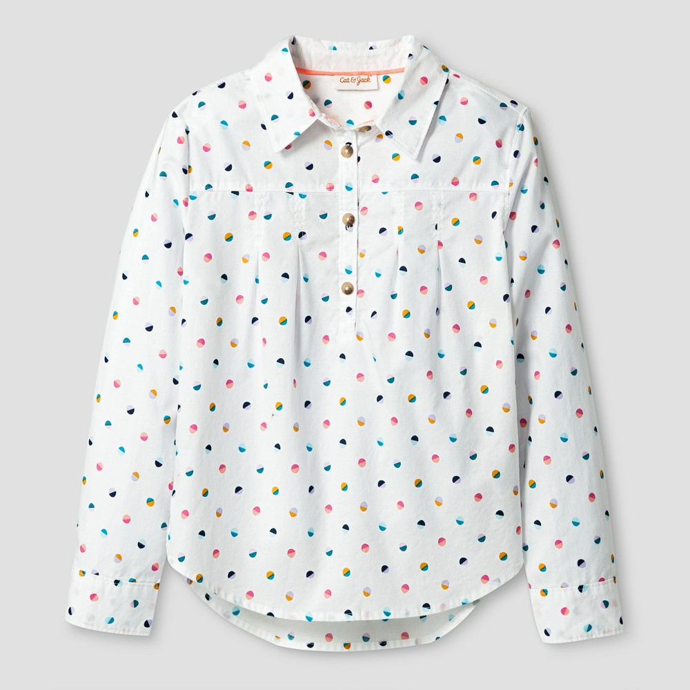 Girls Long Sleeve Button Down Shirt - Cat & Jack Almond Cream (Ivory) L