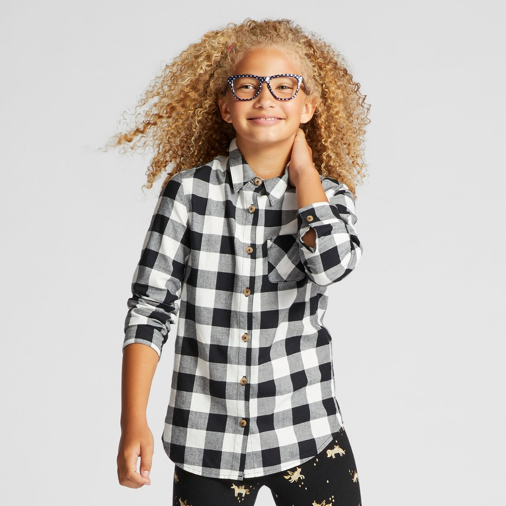 Girls Button Down Shirt - Cat & Jack Black & White L