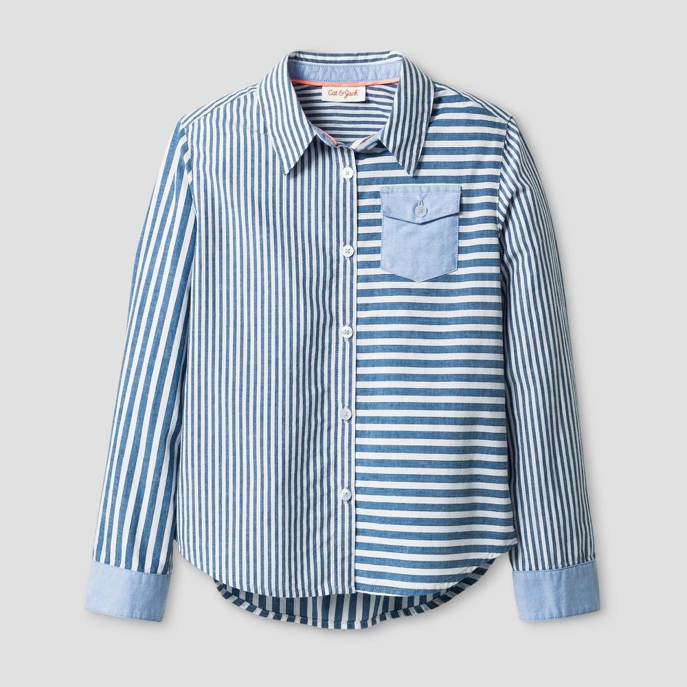 Girls Long Sleeve Woven Button Up Shirt - Cat & Jack Blue XS