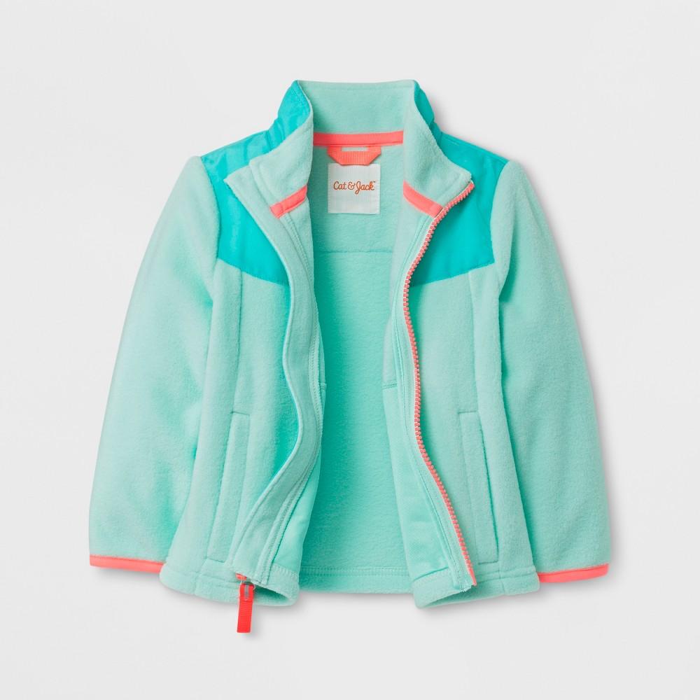 Toddler Girls Fleece Jacket - Cat & Jack Aqua (Blue) 18M