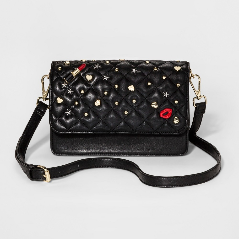 Womens Quilted with Studs Flap Crossbody Handbag with Accordian Gusset - Mossimo Supply Co. Black, Size: Small