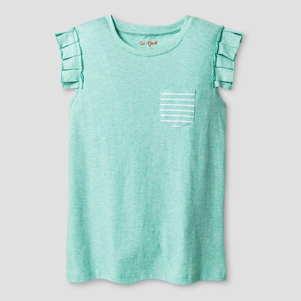 Girls Sleeveless Ruffle Pocket Shine T-Shirt - Cat & Jack Mint (Green) S
