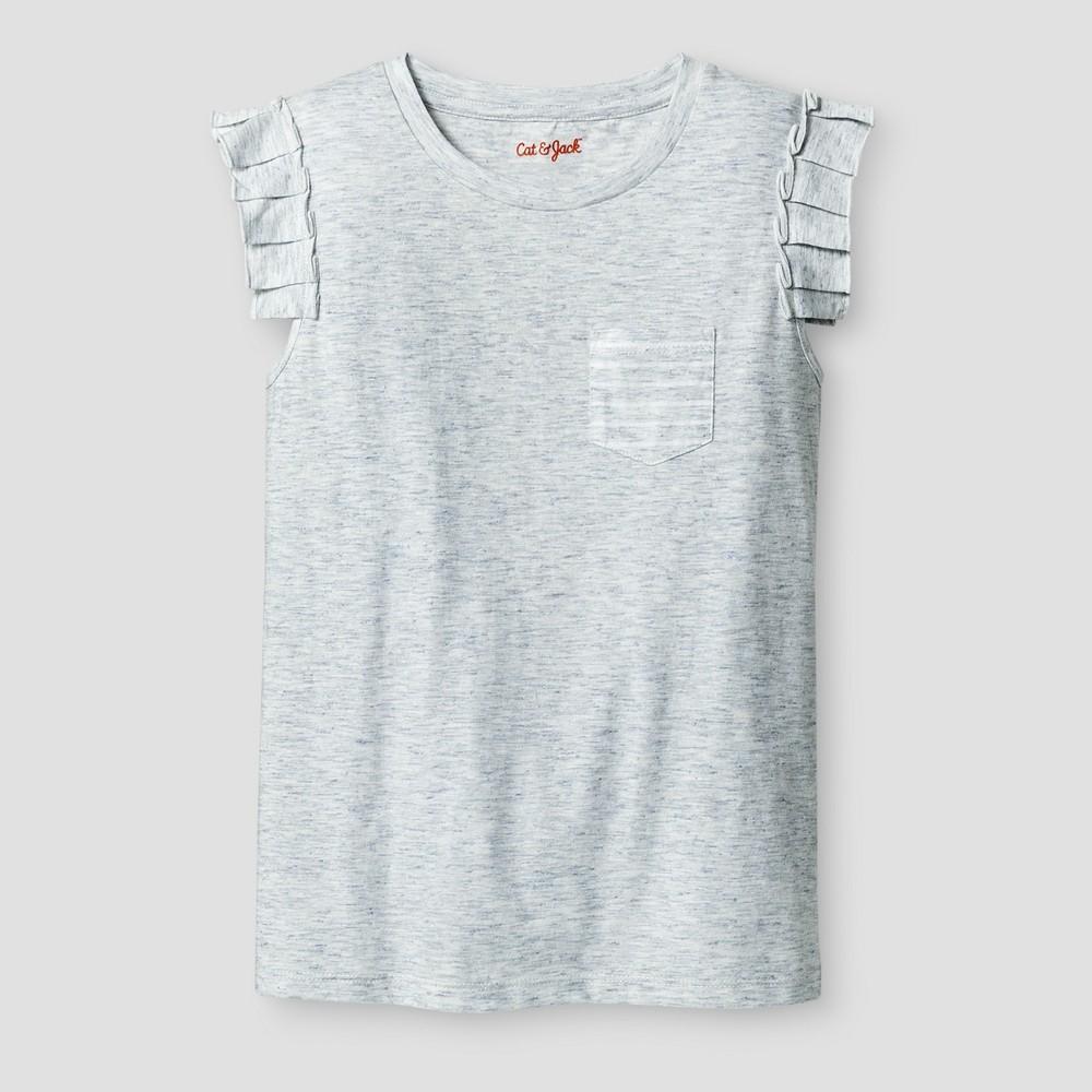 Girls Sleeveless Ruffle Pocket Shine T-Shirt - Cat & Jack Cream (Ivory) M