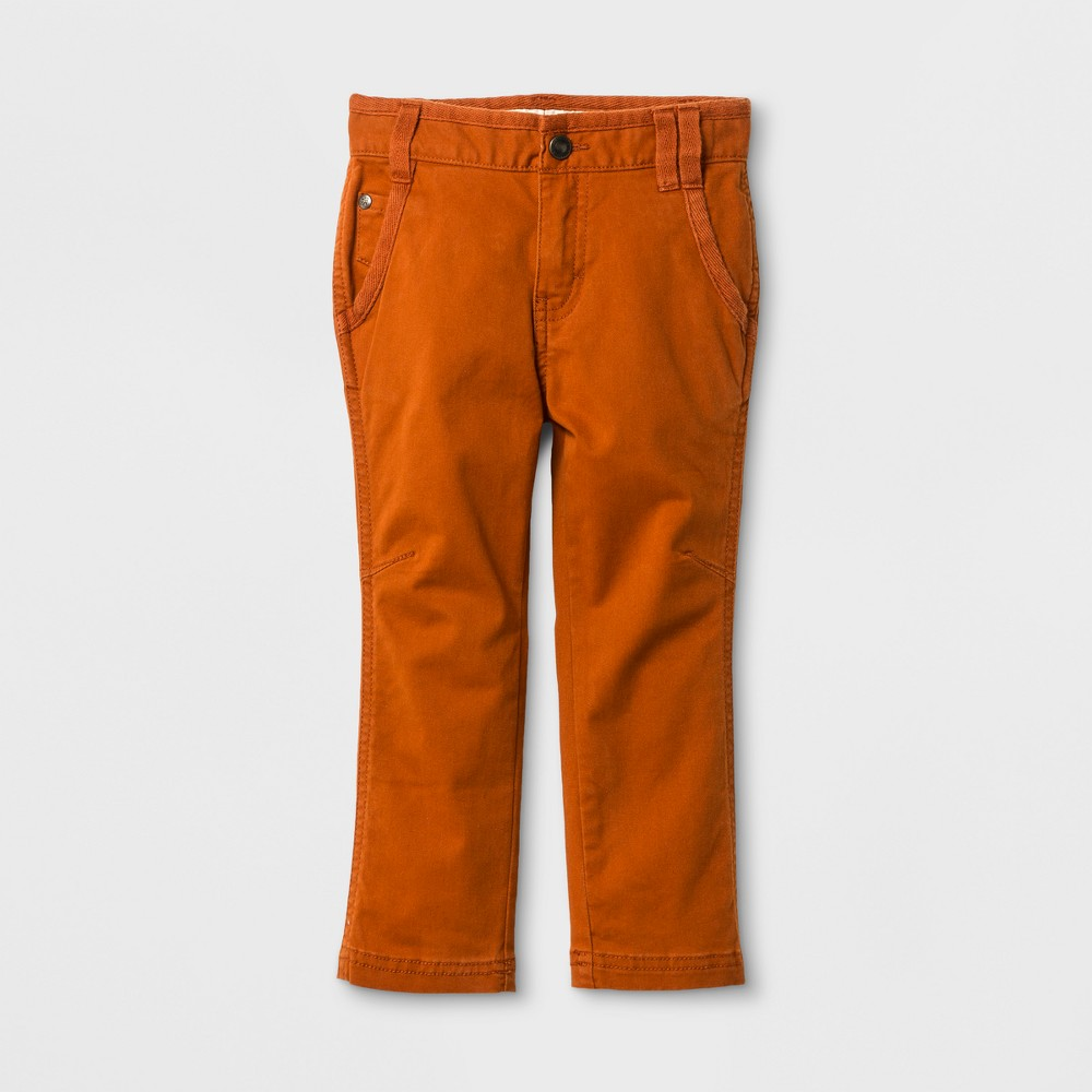 Toddler Boys Chino Pants Genuine Kids from OshKosh - Brown 18M, Size: 18 M, Orange