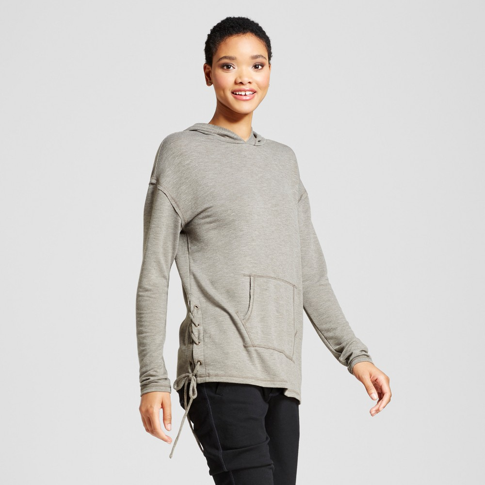 Womens Side Lace-Up Hoodie - Mossimo Supply Co. Heather Olive Xxl