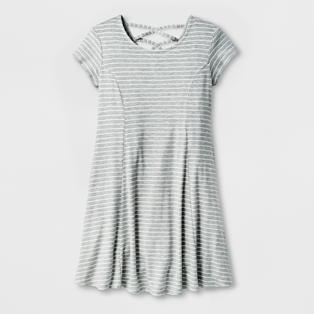Girls Strappy Back Knit Dress - Art Class Heather Gray XL
